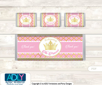 Pink Princess Chocolate Bar Wrapper and Nuggets Candy Wrapper Label for Baby Pink Shower  Crown , Royal