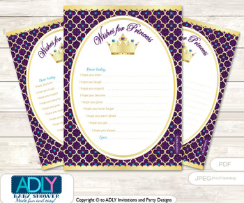 Royal Princess Wishes for a Baby, Well Wishes for a Little Princess Printable Card, Purple, Gold Teal