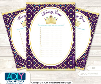 Royal Princess Memory Game Card for Baby Shower, Printable Guess Card, Gold Teal, Purple