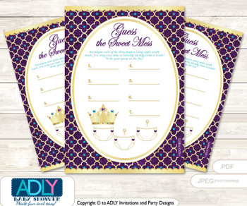 Royal Princess Dirty Diaper Game or Guess Sweet Mess Game for a Baby Shower Gold Teal, Purple