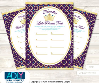 Royal Princess Guess Baby Food Game or Name That Baby Food Game for a Baby Shower, Gold Teal Purple