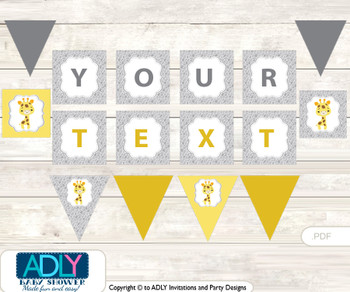 Personalized Neutral Giraffe Printable Banner for Baby Shower, Grey Yellow, Safari