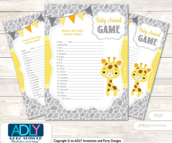 Printable Neutral Giraffe Baby Animal Game, Guess Names of Baby Animals Printable for Baby Giraffe Shower, Grey Yellow, Safari