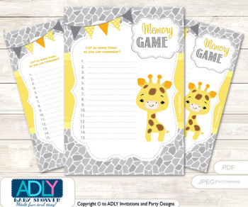 Neutral Giraffe Memory Game Card for Baby Shower, Printable Guess Card, Grey Yellow, Safari
