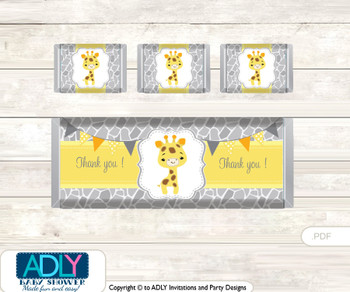 Neutral Giraffe Chocolate Bar Wrapper and Nuggets Candy Wrapper Label for Baby Neutral Shower  Grey Yellow , Safari