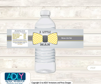 Little Man Bow Tie Water Bottle Wrappers, Labels for a Bow Tie  Baby Shower, Yellow Grey, Chevron