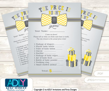 Printable Little Man Bow Tie Price is Right Game Card for Baby Bow Tie Shower, Yellow Grey, Chevron