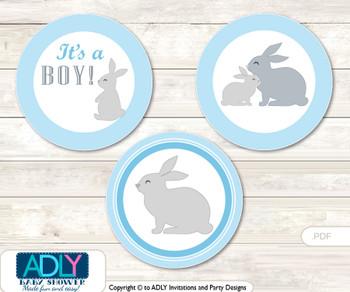 Printable  Boy Bunny Candy Kisses for Baby Boy Shower DIY Blue Green , Rabbit