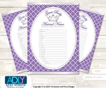 Printable Royal Princess Baby Animal Game, Guess Names of Baby Animals Printable for Baby Princess Shower, Purple, Silver