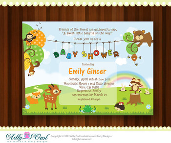 Personalized Forest/Woodland Baby Shower Printable DIY party invitation with forest animals - ONLY digital file - you print