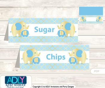 Printable Boy Elephant Buffet Tags or Food Tent Labels  for a Baby Shower or Birthday , Baby Blue, Gold