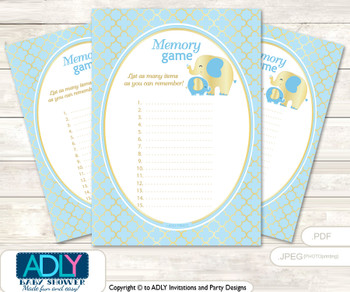 Boy Elephant Memory Game Card for Baby Shower, Printable Guess Card, Baby Blue, Gold