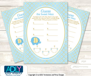 Boy Elephant Memory Game Card for Baby Shower, Printable Guess Card, Baby Blue, Gold  Boy Elephant Dirty Diaper Game or Guess Sweet Mess Game for a Baby Shower Baby Blue, Gold