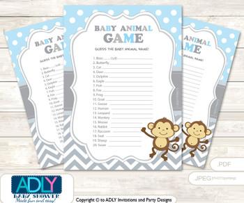 Printable Boy Monkey Baby Animal Game, Guess Names of Baby Animals Printable for Baby Monkey Shower, Grey , Chevron