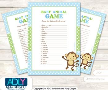 Printable Boy Monkey Baby Animal Game, Guess Names of Baby Animals Printable for Baby Monkey Shower, Green, Polka