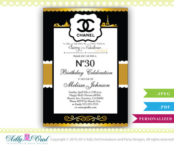 Personalized Chanel Birthday Party Celebration Invite for any age - 20,30,40,50 in black, white and gold colors. - ONLY digital file - ao68hb