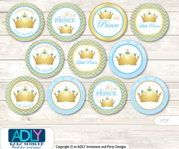 Baby Shower Blue Prince Cupcake Toppers Printable File for Little Blue and Mommy-to-be, favor tags, circle toppers, Gold, Chevron