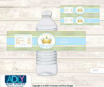 Blue Prince Water Bottle Wrappers, Labels for a Prince  Baby Shower, Chevron, Gold