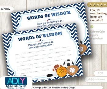 Basketball Boy MVP Words of Wisdom or an Advice Printable Card for Baby Shower, All Star