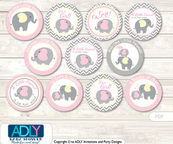 Baby Shower Girl Elephant Cupcake Toppers Printable File for Little Girl and Mommy-to-be, favor tags, circle toppers, Chevron, Yellow