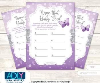 Purple Butterfly Guess Baby Food Game or Name That Baby Food Game for a Baby Shower, Gray Bokeh