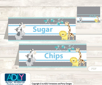 Printable Boy Safari Buffet Tags or Food Tent Labels  for a Baby Shower or Birthday , Blue, Grey