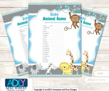 Printable Boy Safari Baby Animal Game, Guess Names of Baby Animals Printable for Baby Safari Shower, Blue, Grey