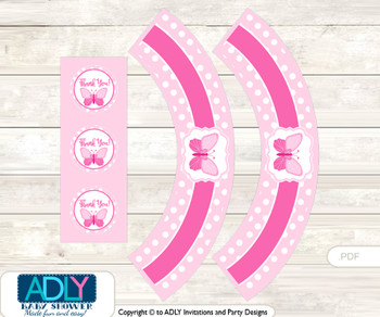 Printable Pink Butterfly Cupcake, Muffins Wrappers plus Thank You tags for Baby Shower Soft Pink, Polka