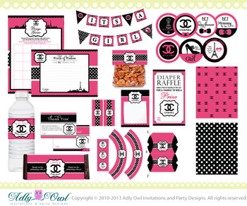 Chanel Girl Baby Shower Printable Kit DIY, high fashion baby shower, stylish mommy to be, banner,water label,tags- ONLY digital file - ao67
