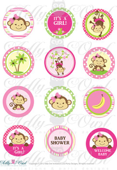 Pink Girl Monkey Baby Shower Cupcake Toppers or Favor Tags Printables DIY, it's a girl monkey tags - ONLY digital file - you print