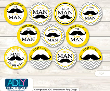 Baby Shower Yellow Mustache Cupcake Toppers Printable File for Little Yellow and Mommy-to-be, favor tags, circle toppers, Chevron, Grey