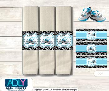 Printable Sneakers Jumpman Napkin Ring Label or Napkin Holders for Baby Shower, Black, MVP