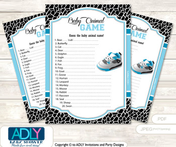 Printable Sneakers Jumpman Baby Animal Game, Guess Names of Baby Animals Printable for Baby Jumpman Shower, Black, MVP