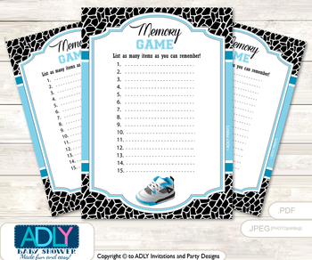 Sneakers Jumpman Memory Game Card for Baby Shower, Printable Guess Card, Black, MVP