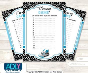 Sneakers Jumpman Memory Game Card for Baby Shower, Printable Guess Card, Black, MVP