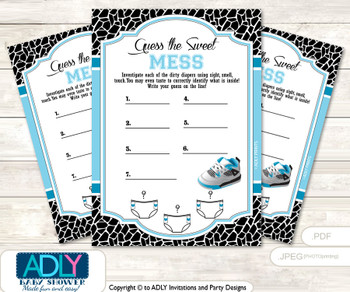 Sneakers Jumpman Dirty Diaper Game or Guess Sweet Mess Game for a Baby Shower Black, MVP