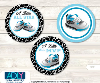 Printable  Sneakers Jumpman Candy Kisses for Baby Sneakers Shower DIY Black , MVP