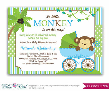 Blue Monkey Stroller Baby Shower Invitation card, Cute little monkey boy is on the way card for boy baby shower,blue green