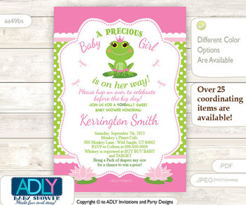 Precious Little Girl Frog Invitation, Girl is on her way, pink with lim green polka dots baby shower invitation, tadpole