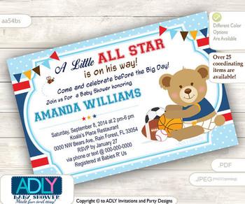 Teddy Bear Sports Little All Star invitation for baby shower, football, baseball,basketball,soccer, sportive boy baby shower