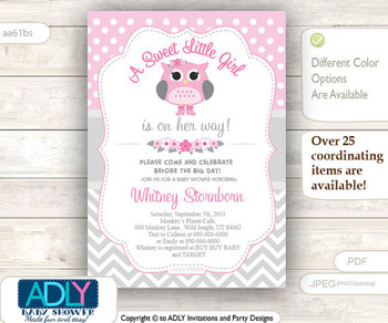A Sweet Little Girl Owl Spring Invitation, chevron grey pink owl invitation, little owl shower, polka dots, spring, blossom shower