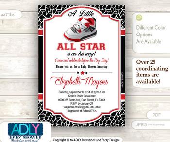Boy Shoe All Star Red Black Invitation, Jordan shoes, Little All Star Jumpman shower, sports shower, air shower