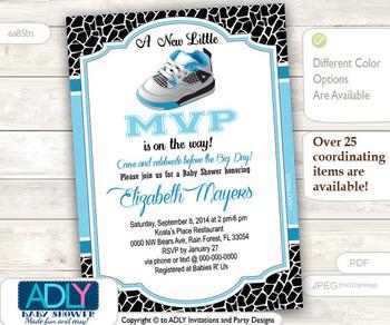 Boy Shoe All Star Blue Black Invitation, MVP, Jordan shoes, Little All Star Jumpman shower, sports shower, air shower