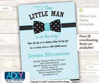 Light Turquoise Bow Tie Little Man Baby Shower Invitation, black bow tie polka dots, aqua,blue