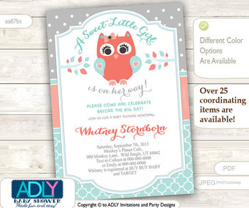 Grey, Aqua, Peach Owl Baby Shower Invitation card, A sweet Little Girl is on her way, gray salmon, polka, coral