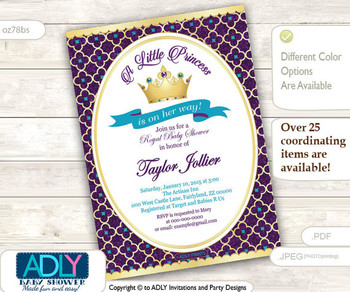Purple, Turquoise, Gold Princess Invitation for Royal Baby Shower Theme, teal, golden crown, princess is on her way, royal shower