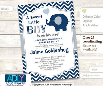 Blue Grey Elephant Invitation for Boy Baby Shower in Dark Blue Chevron, Gray.A sweet Little Boy is on his way
