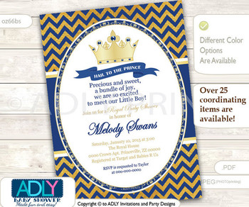 Royal Blue Gold King or Prince Invtation for Baby Shower, Hail to the King, royal shower for boy, dark blue gold printable card