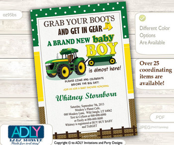 Tractor Baby Shower,Country, farm baby shower. Grab your boots and get in gear, Burlap Green Yellow, John brown, Deere