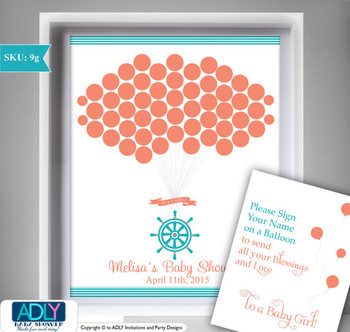 Teal Green and Coral Girl Ship Wheel Guest Book Printable Alternative for Girl Baby Shower DIY teal Nautical